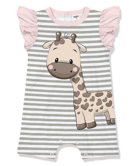 2cfa9fb1f6b love this product Gray   Light Pink Stripe Giraffe Angel-Sleeve Romper -  Infant   Toddler