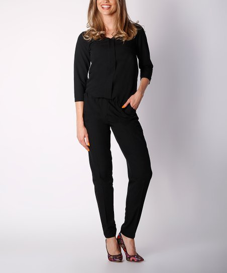 8b2b5550a75f love this product Black Three-Quarter Sleeve V-Neck Jumpsuit - Women
