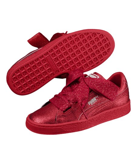 hot sale online 60432 d5318 PUMA Ribbon Red & Rose Gold Basket Heart Holiday Glamour Jr Sneaker - Girls