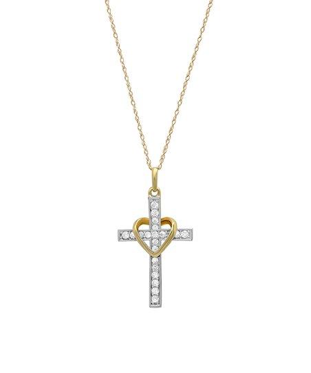 606e7411af43dd HMY Jewelry Cubic Zirconia & 10k Gold Heart & Cross Pendant Necklace ...