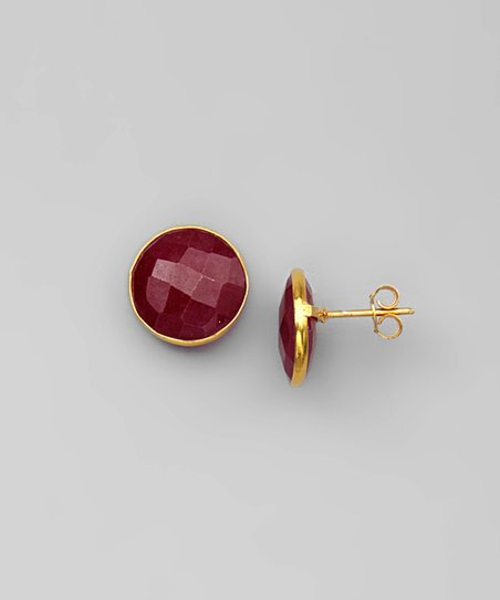 Ruby & Gold Round Stud Earrings