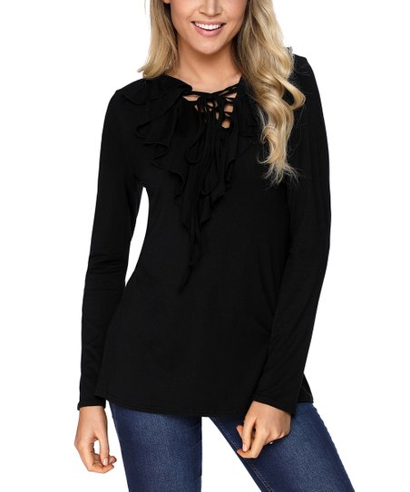 Zesica Black Lace-Up Ruffle-Neck Long-Sleeve Top - Women  172d81042