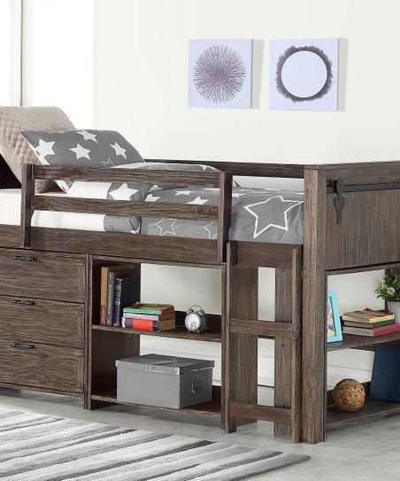 Donco Kids Brown Barn Door Low Loft Bed Under Bed Bookcase Set