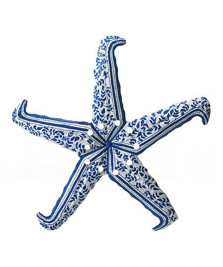 Evergreen Blue White Damask Starfish Wall Décor