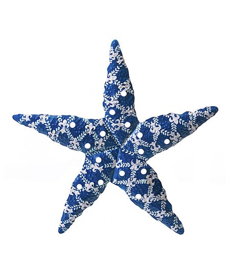 Evergreen White Blue Damask Starfish Wall Décor