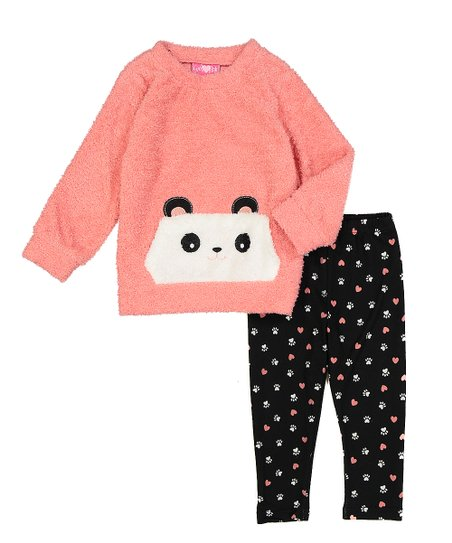 love this product Peach Panda Fuzzy Sweater & Black Paw Print Leggings - Infant, Toddler & Girls