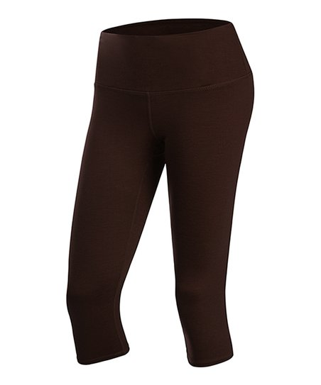 5a54e4c929253 Yoga Ruru Dark Brown Tummy-Control Capri Leggings - Women   Zulily