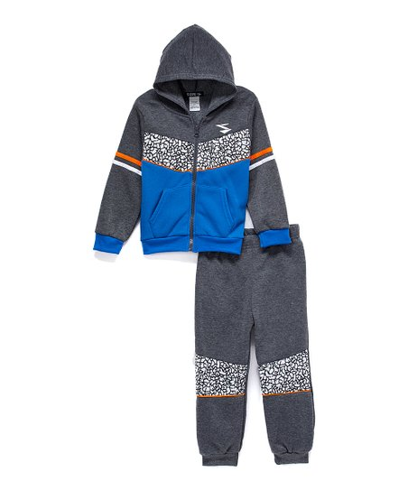 7ccb8ca2d002c love this product Gray & Blue Zip-Up Hoodie & Sweatpants - Infant & Boys