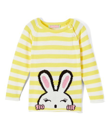 9a566d01c Sophie   Sam Yellow Stripe Peeping Bunny Button-Snap Sweater ...