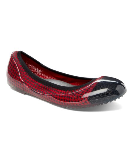 266aa408138d love this product Red   Black Houndstooth Jelly Flat - Women