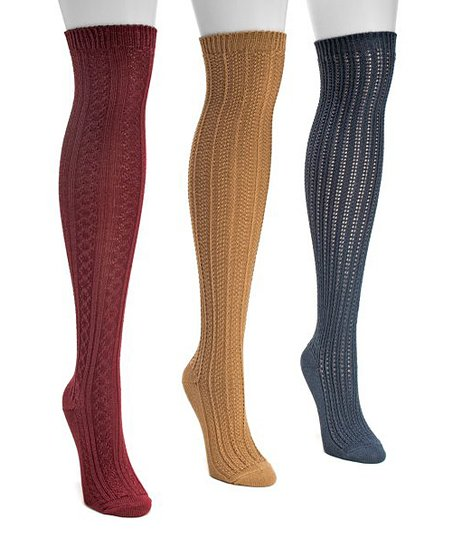 d1728894b love this product Red   Navy Textured Over-the-Knee Three-Pair Socks Set -  Women