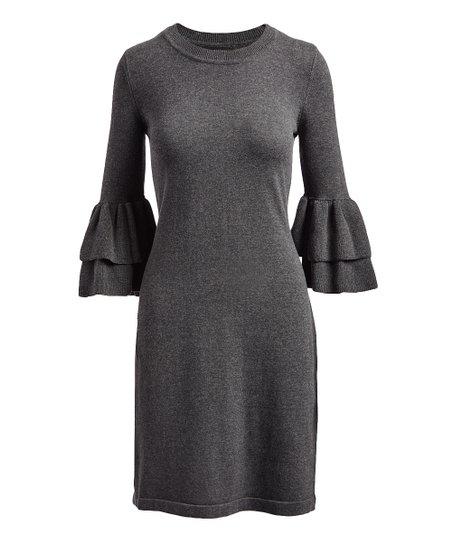 3d979937b26 Nine West Charcoal Heather Ruffle Sleeve Sweater Dress - Women