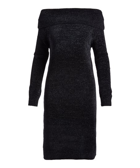 Nine West Black Chenille Off Shoulder Sweater Dress Women Zulily