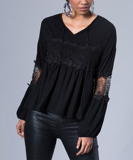 d772491f0a Milan Kiss Black Lace-Accent V-Neck Top - Women | Zulily