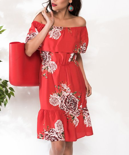 5a789f73e8a0 love this product Red   White Floral Off-Shoulder Dress - Women