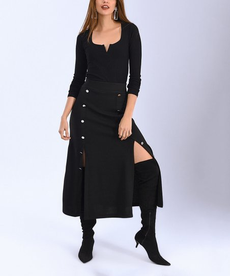 b3430440fbd9ec Milan Kiss Black Button Side-Slit Midi Skirt - Women | Zulily