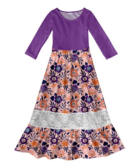 bdc19afed903 Emma   Elsa Purple Floral Lace Panel Maxi Dress - Girls