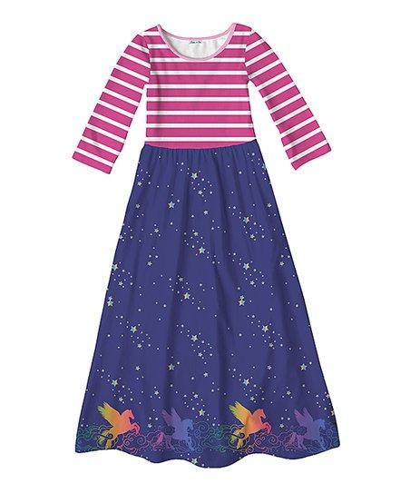 4f41a7f17180 Emma   Elsa Pink   Dark Blue Stripe Unicorn Maxi Dress - Girls