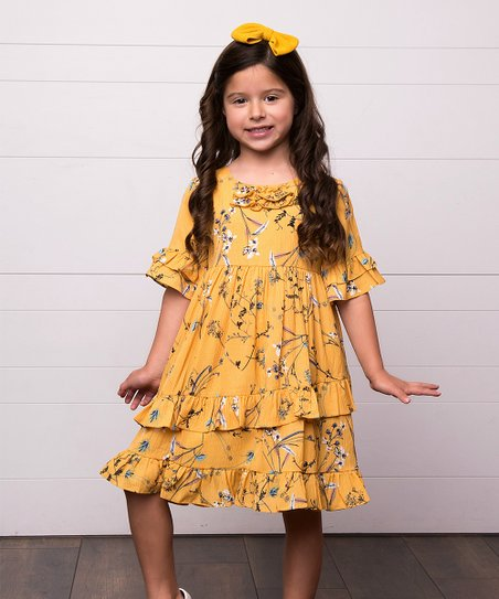 604c758c2408 love this product Mustard Floral Ruffle-Trim Natasha A-Line Dress - Infant