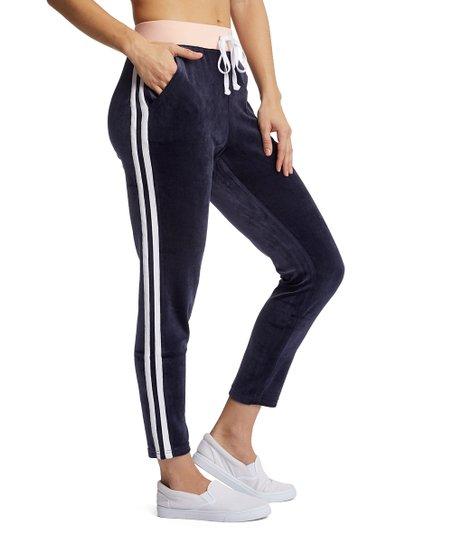 love this product Navy   Blush Stripe Velour Lounge Pants - Women 6baa56089