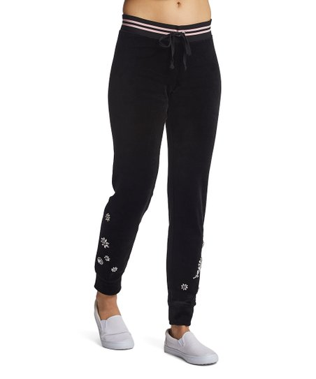 8fac72ee4e8c love this product Pitch Black Velour Crystal Garden Embroidery Zuma Lounge  Pants - Women