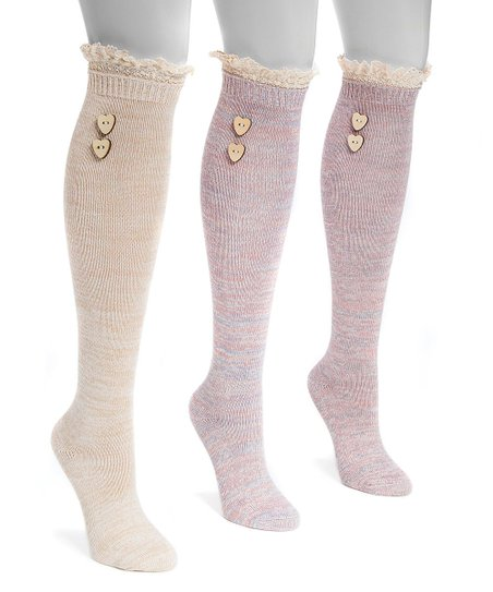 eef2d464b Muk Luks Light Pink Lace Top Three-Pair Knee-High Socks Set - Women ...