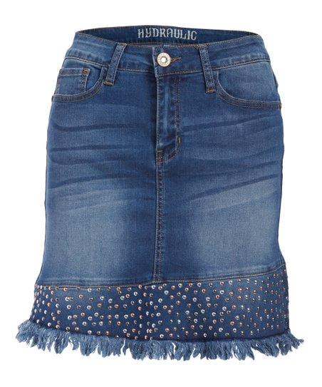 77a32bc01 love this product Paradise Lola Imitation Pearl-Accent Raw-Hem Denim Skirt  - Juniors