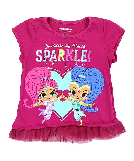 d49499c2 love this product Shimmer & Shine Magenta 'You Make My Heart' Tulle-Hem Tee  - Girls