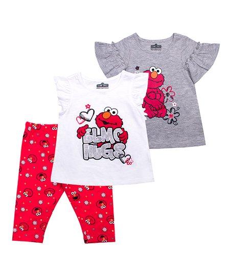 26c7d3d5c4e86 love this product Sesame Street Gray 'Love Elmo' Flutter-Sleeve Top Set -  Infant