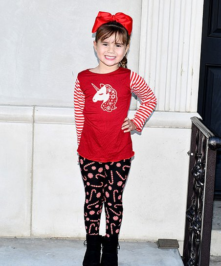e9218097d1 love this product Red Unicorn & Stripe Long-Sleeve Tee & Black Candy Cane  Leggings - Toddler