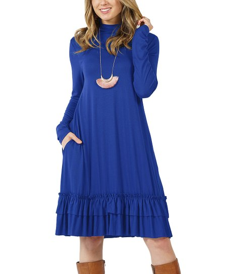 ef846c0141 love this product Denim Blue Mock Neck Long-Sleeve Ruffle-Hem Dress - Women