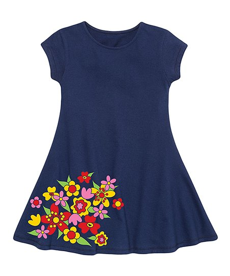 43b265dfcf13 love this product Navy Scattered Flowers Fit & Flare Dress - Toddler & Girls