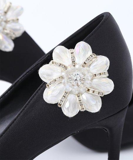 cbcd46a5178ea IngeSight.Z Rhinestone & Gemstone Flower Shoe Charm - Set of Two