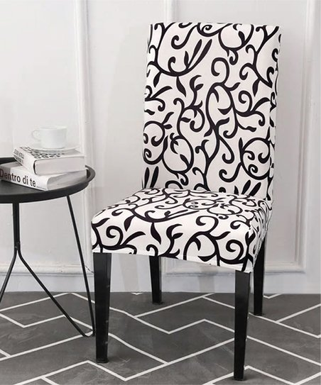 Peachy Lexi Park Black White Swirl Vines Chair Cover Zulily Gmtry Best Dining Table And Chair Ideas Images Gmtryco
