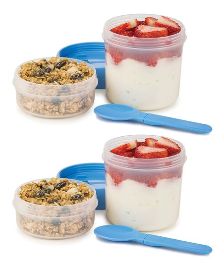 Blue Flip &Amp; Go Snack Stack Container   Set Of Two by Progressive