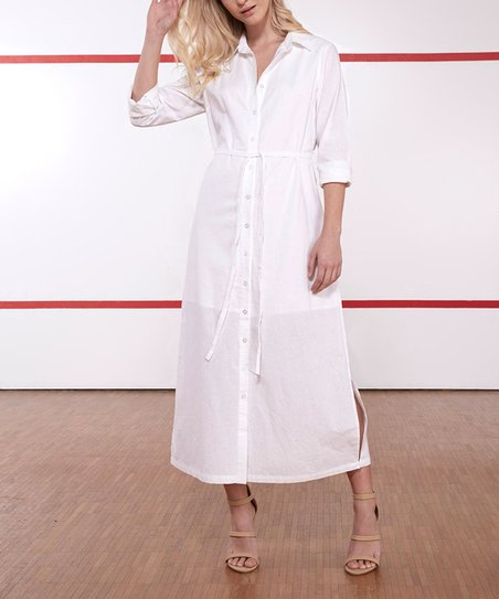 Verrassend Tee Ink White Bayside Tie-Waist Linen Maxi Shirt Dress - Women SS-74