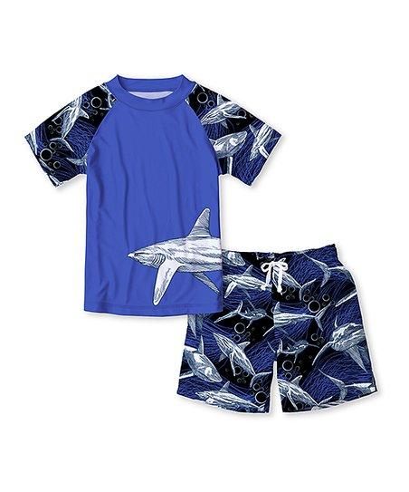 bc773d0d Sunshine Swing Blue Shark Raglan Rashguard Set - Toddler & Boys   Zulily