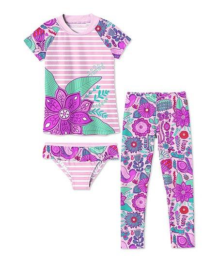78039610bd866 Sunshine Swing Light Pink Stripe & Floral Leggings Swim Set ...