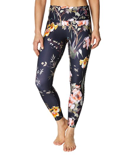 d295c16127bf5 Betsey Johnson® Navy Floral Mesh-Panel Ankle Leggings - Women | Zulily