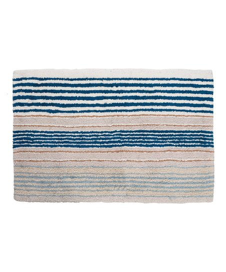 Blue White Stripe Bath Rug Zulily