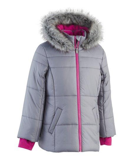 b780e759fc2a Calvin Klein Jeans Gray Faux Fur Hooded Sport Puffer Jacket - Girls ...