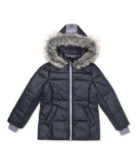 8c09bace96a2 Calvin Klein Jeans Anthracite Faux Fur Hooded Sport Puffer Jacket ...