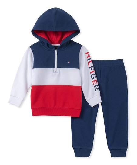 7a9b31a4c love this product Navy & Red 'Hilfiger' Hooded Pullover & Joggers - Infant