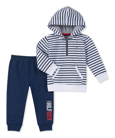 88cb19593 love this product White & Navy 'Tommy Hilfiger' Hooded Pullover & Joggers -  Infant