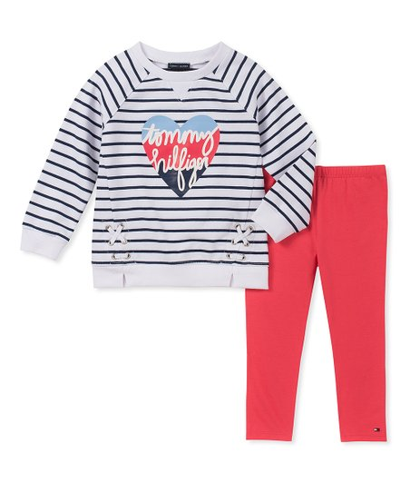 998c1dfdb5f85b love this product White & Navy Stripe 'Tommy Hilfiger' Tunic & Leggings -  Girls