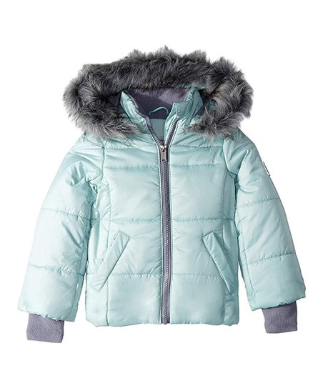f809d2ad9 Calvin Klein Jeans Mint Faux Fur Hooded Puffer Jacket - Toddler