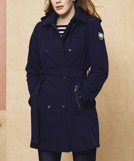 bf1b88b39 love this product Navy Belted Hooded Trench Coat - Women