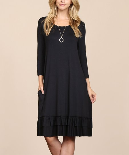 967788fe5b4 love this product Black Long-Sleeve Ruffle-Hem Shift Dress - Women