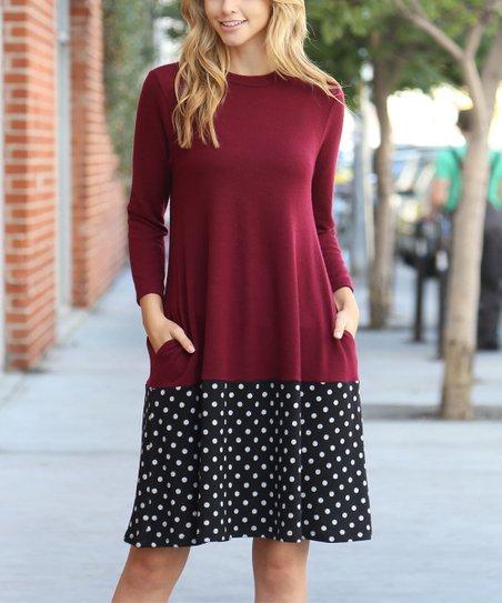 9d045a933b00 Riah Fashion Burgundy   Black Polka Dot Contrast Swing Dress - Women ...