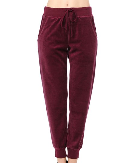 Active Usa Burgundy Velour Joggers Women Best Price And Reviews Zulily
